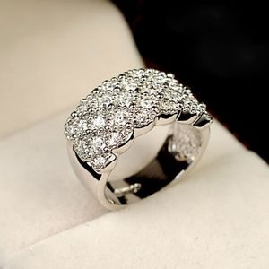 Jewelry - Silver Austrian Czech Crystal Filled Band Ring